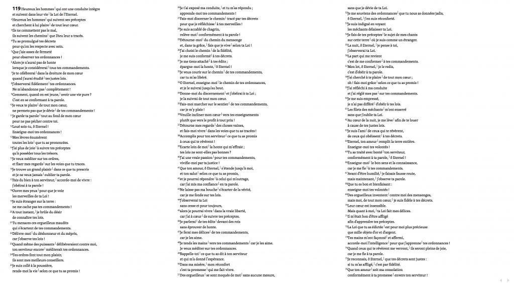 Texte Biblique non mis en page. Ex : Psaume 119